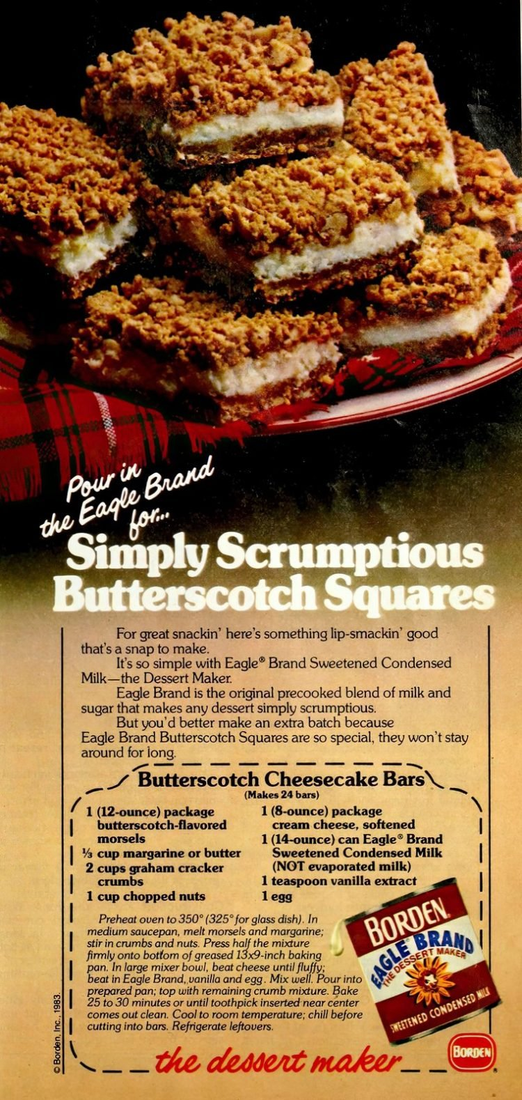Vintage recipe for Butterscotch cheesecake bars (1983)-gigapixel-width-1200px