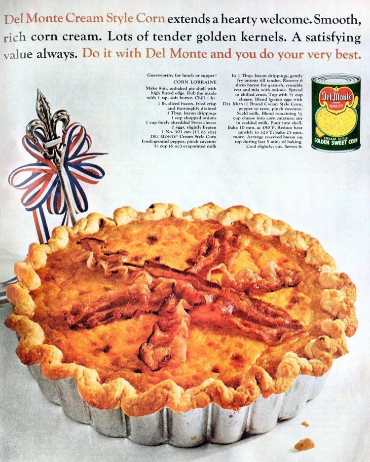 Vintage recipe for Corn Lorraine quiche