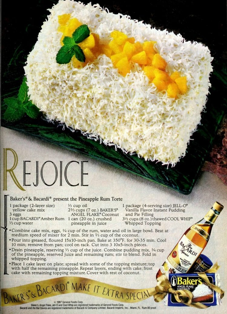 Vintage recipe for Pineapple rum torte - cake (1987)