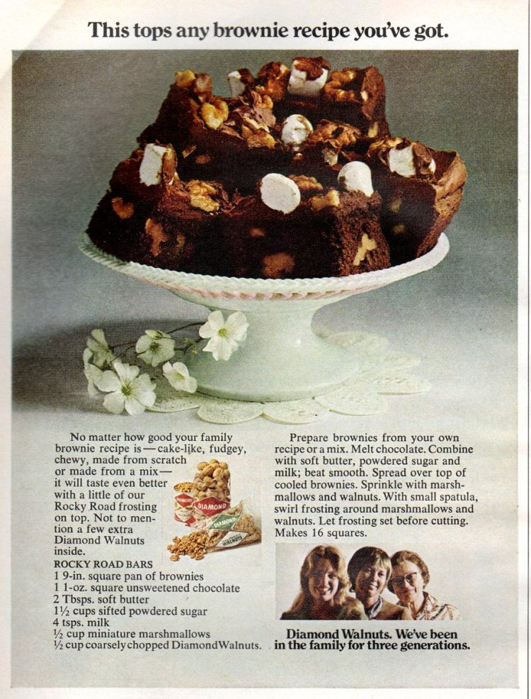 Vintage recipe for Rocky Road Bar Brownies (1971)