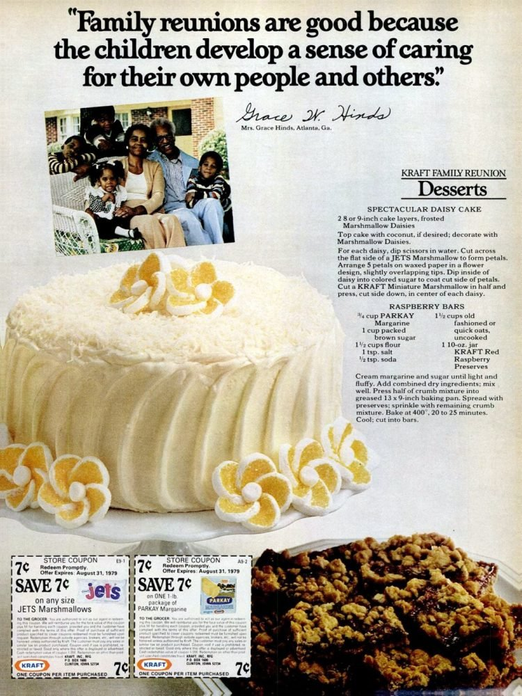 Vintage recipe for a spectacular daisy cake from 1979