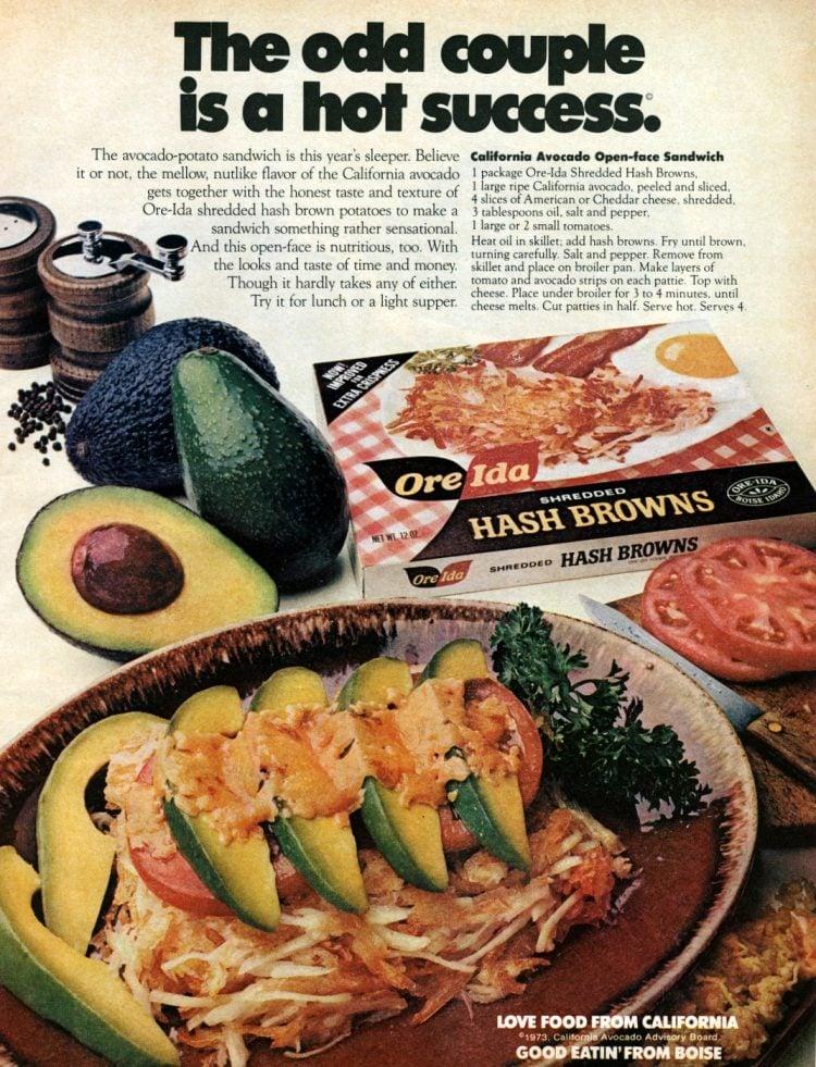 Vintage recipe for avocado-potato sandwich from 1974