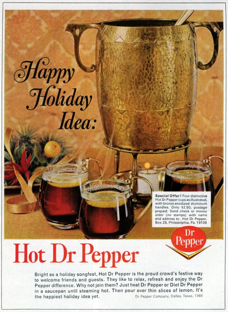 Vintage recipe for hot Dr Pepper for winter 1966