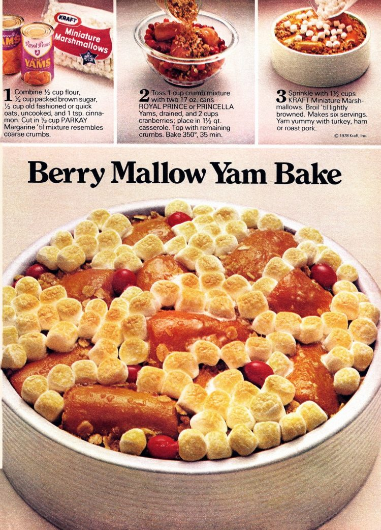 Classic yam bake recipe from 1978 for Berry Mallow yam bake