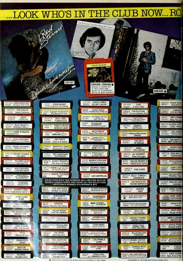 Vintage records or tapes from Columbia House 1979 (1)