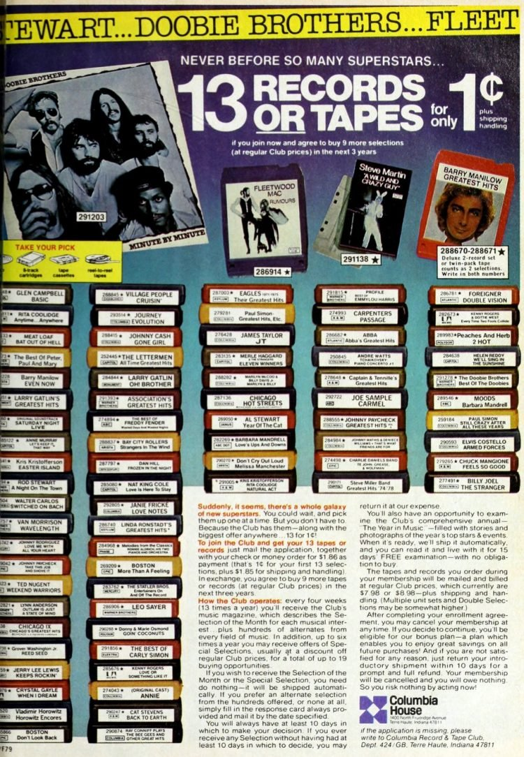 Vintage records or tapes from Columbia House 1979 (2)