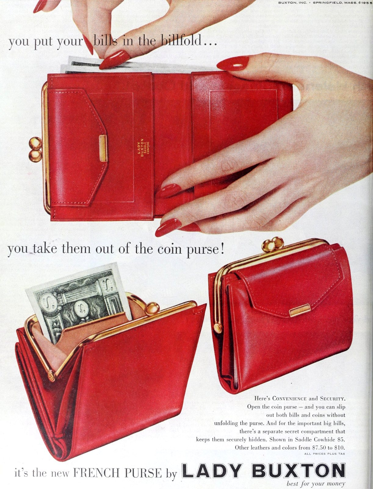Vintage red French Purse - coin purse billfold - Lady Buxton (1955)