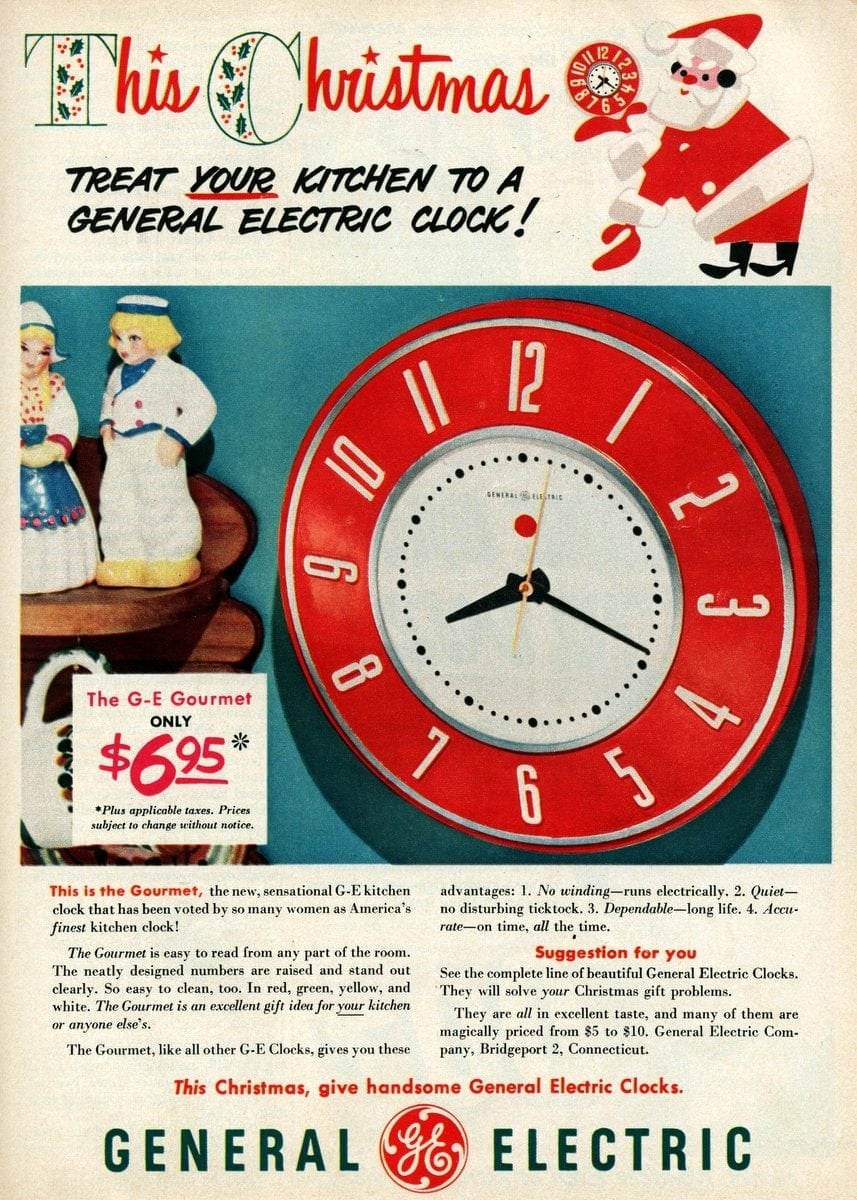 Vintage red GE kitchen clock from 1950
