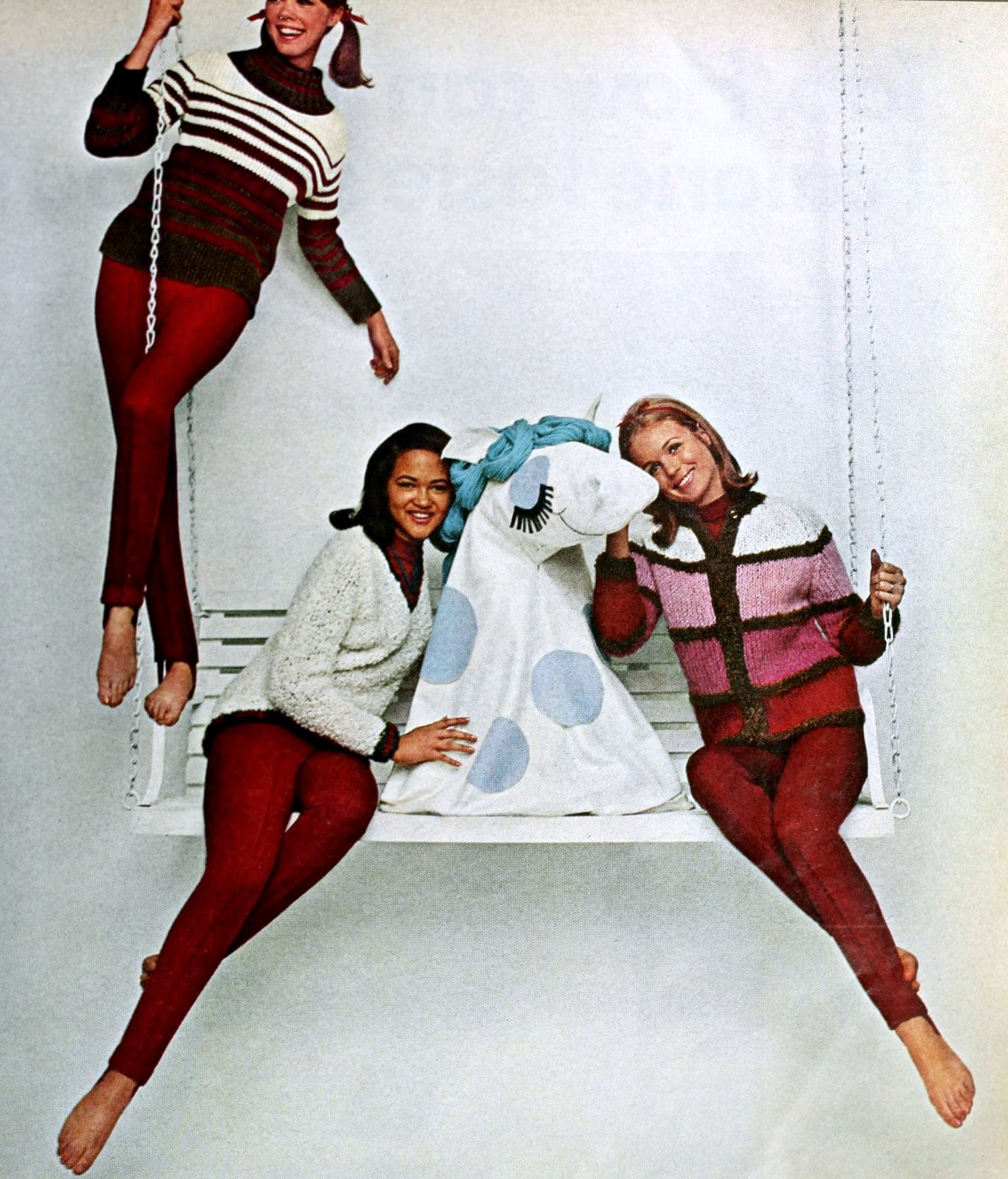 Vintage red pants with matching sweater styles (1965)