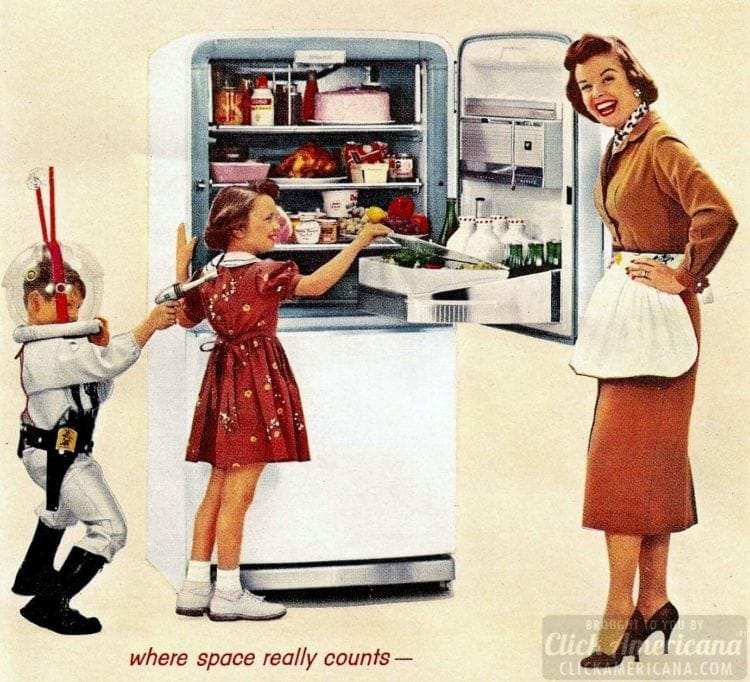 Vintage refrigerators and family