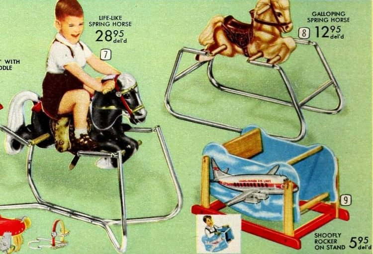 Vintage ride-on horse toys from 1958