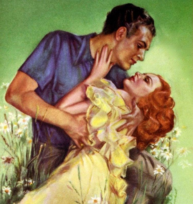 Vintage romantic couple ready to kiss