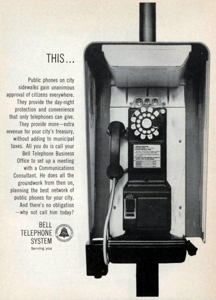 Vintage rotary dial payphone 1964