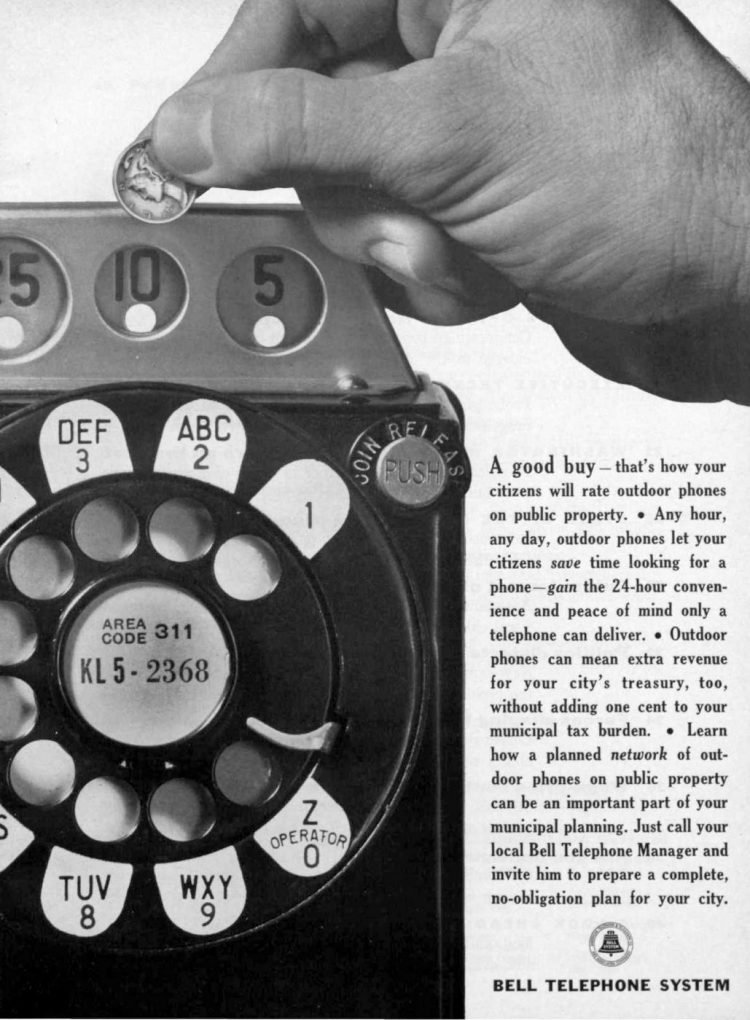 Vintage rotary dial payphone coin slots 1962