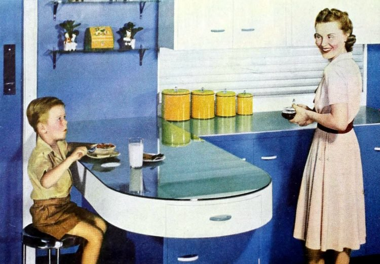 Curved countertops as vintage kitchen design ideas