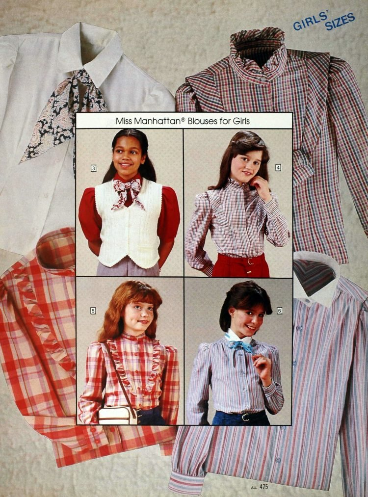 Vintage ruffled prairie blouses for girls the 80s