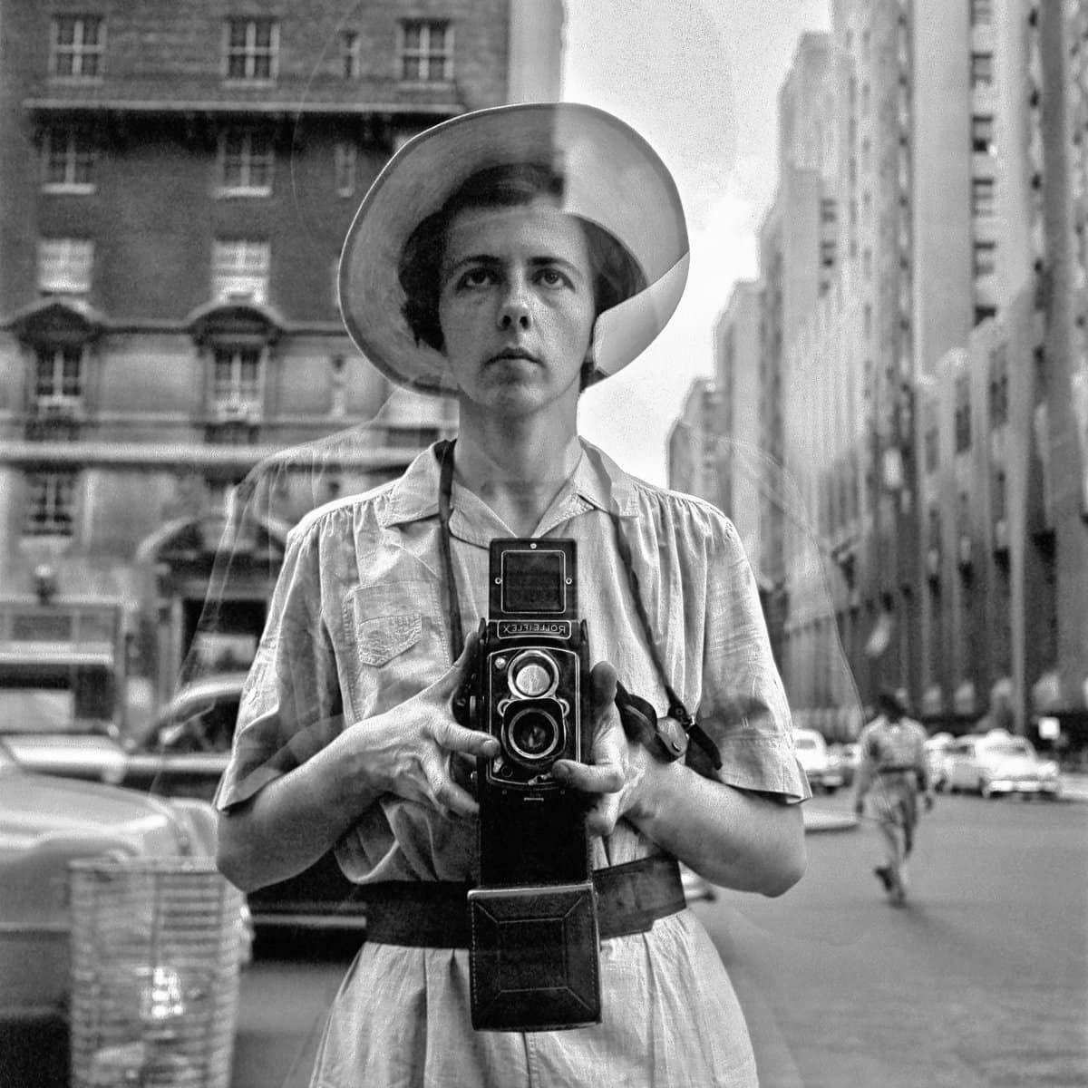 Vintage selfie - Vivian Maier reflected in a shop window self-portrait (1950s) at ClickAmericana com