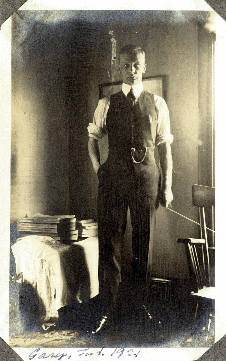 Vintage selfie - Man in Gary Indiana (1924)