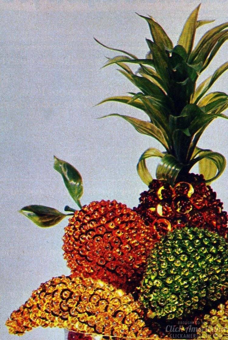 Vintage sequined pineapple DIY craft project