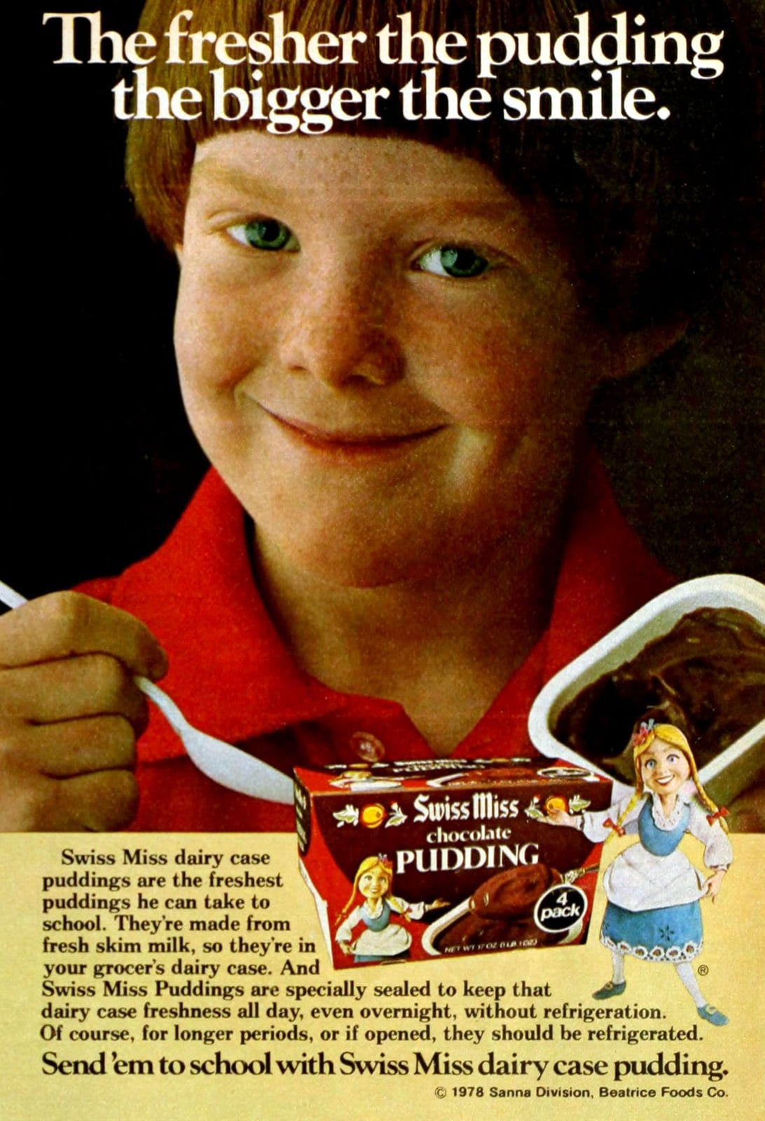 Vintage seventies Swiss Miss chocolate pudding cups 4-pack (1978)
