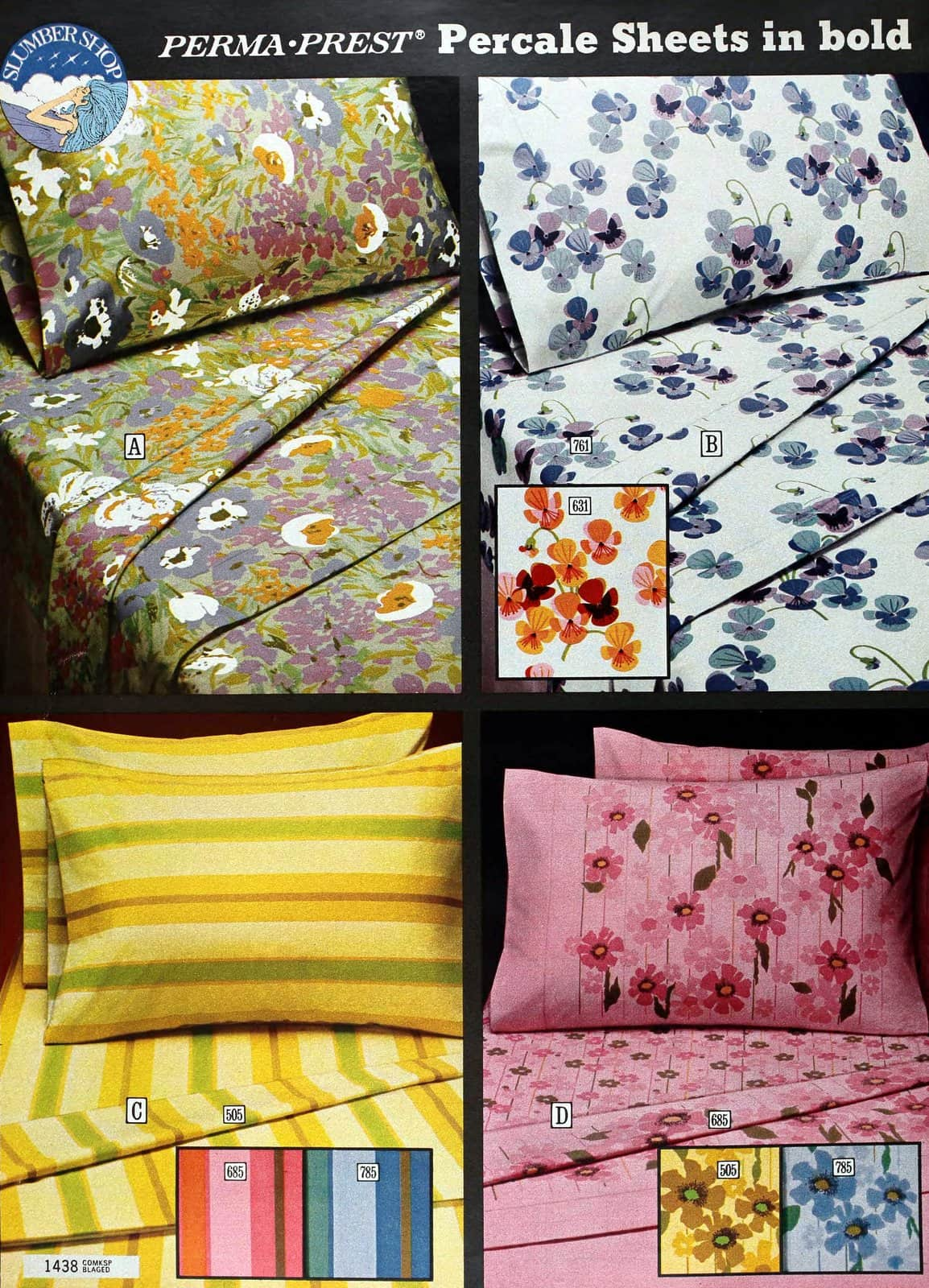 Vintage seventies sheet sets in contemporary stripes and flower patterns