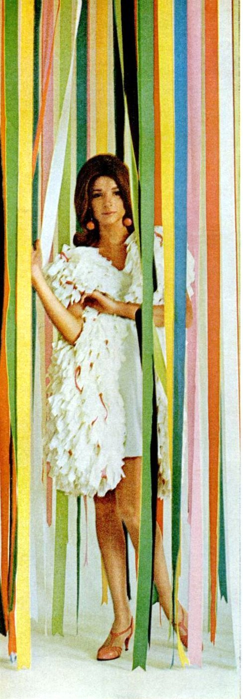 Vintage shaggy-style paper dress from 1966