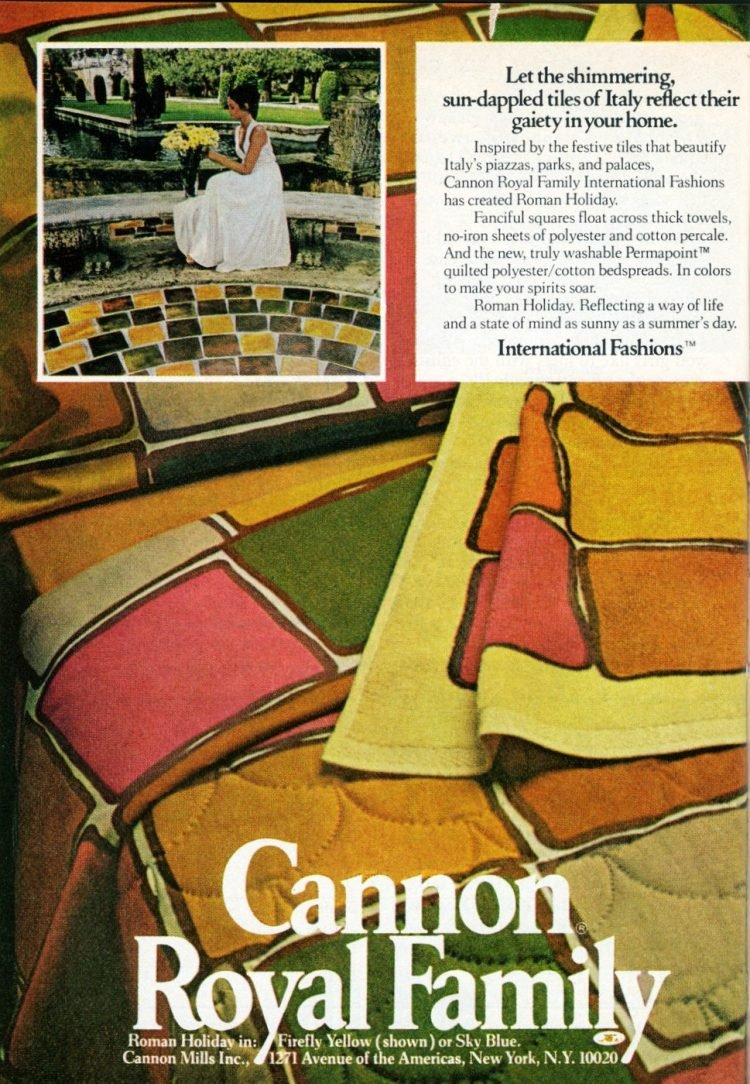 Vintage sheets - Cannon Royal Family Roman Holiday pattern from 1973