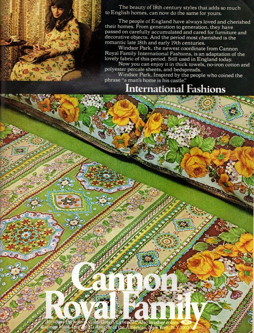 Vintage sheets - Cannon Windsor Park pattern from 1972