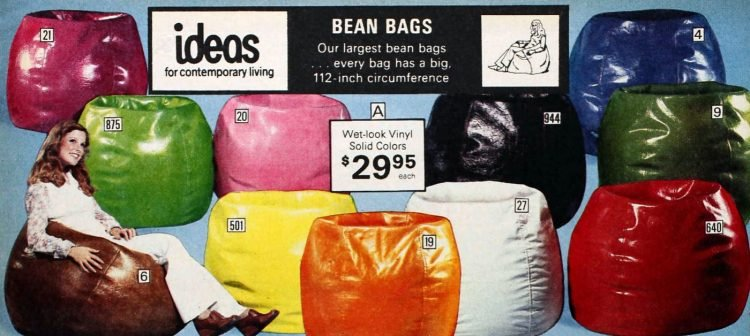 Vintage shiny bean bag colors from '77