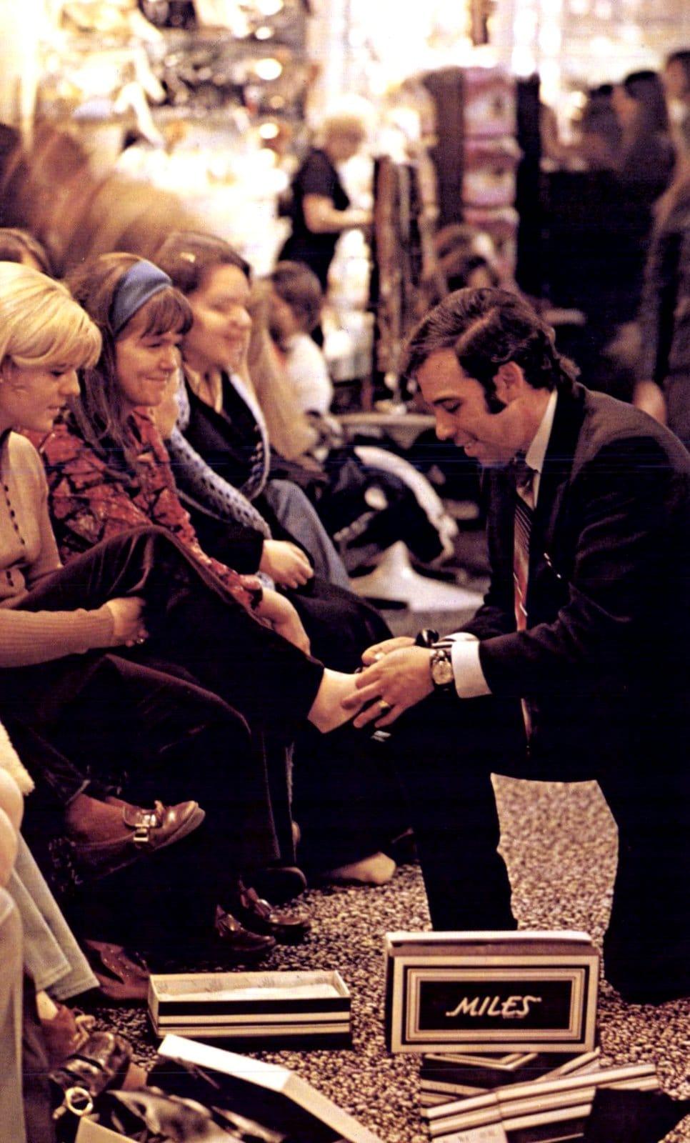 Vintage shoe store scene (1970)