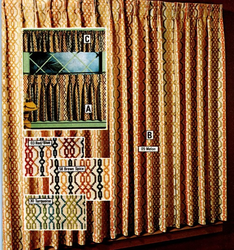 Vintage shortie length curtains - Rugged cotton hopsacking with knitted trim