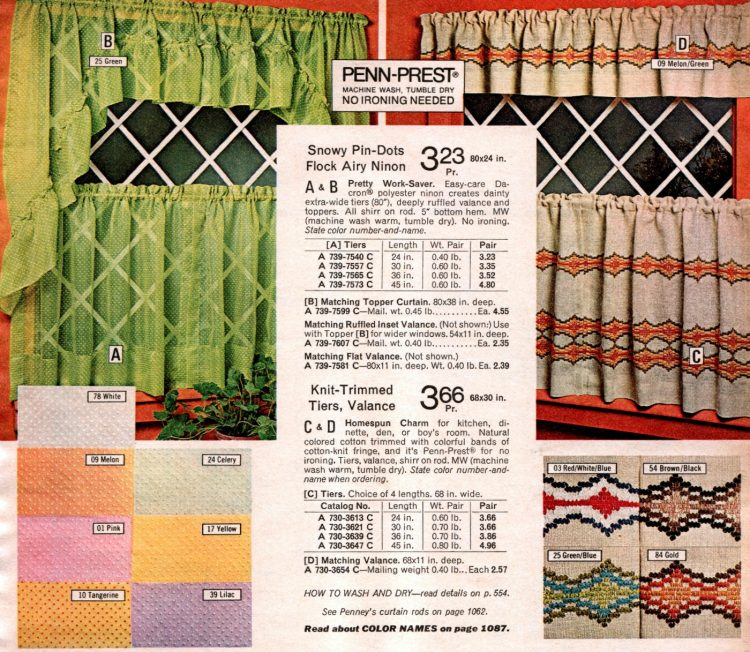 Vintage shorty window curtains from the 1970s