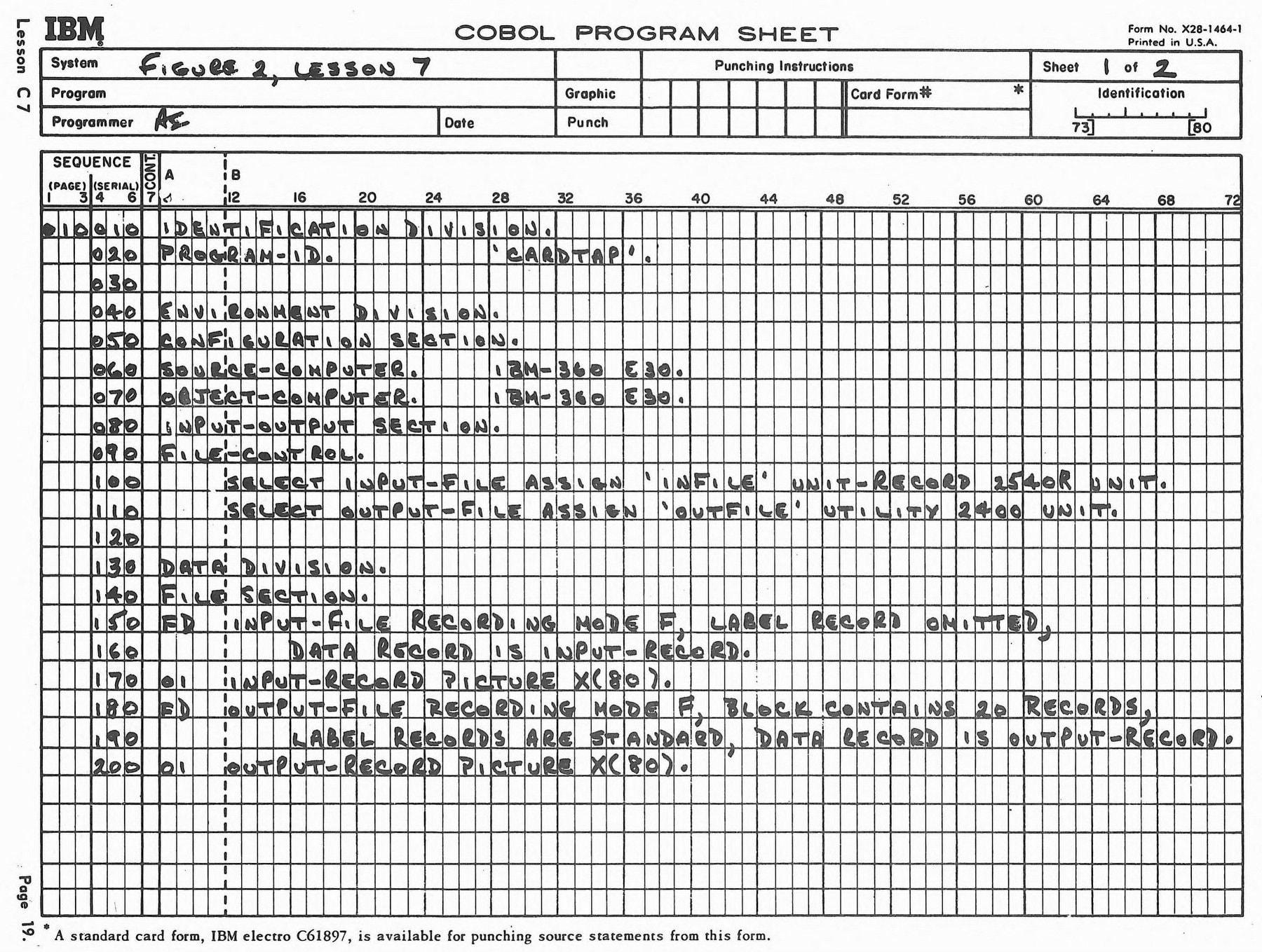 Vintage 60s COBOL computer programming sheets (1)