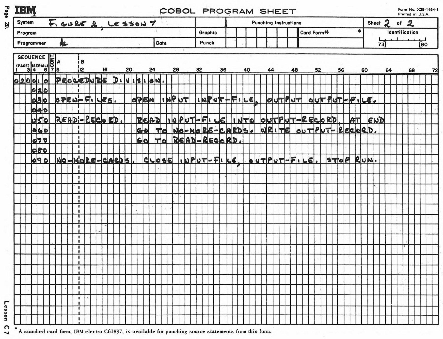 Vintage 60s COBOL computer programming sheets (2)