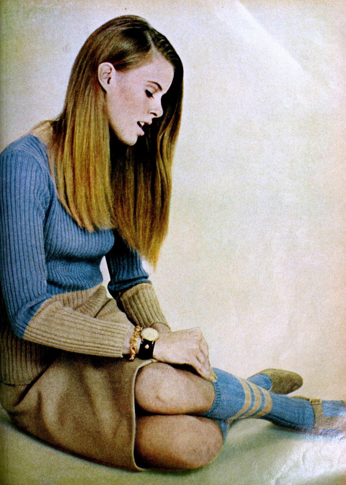 Vintage sixties beige and blue sweater dress womenswear