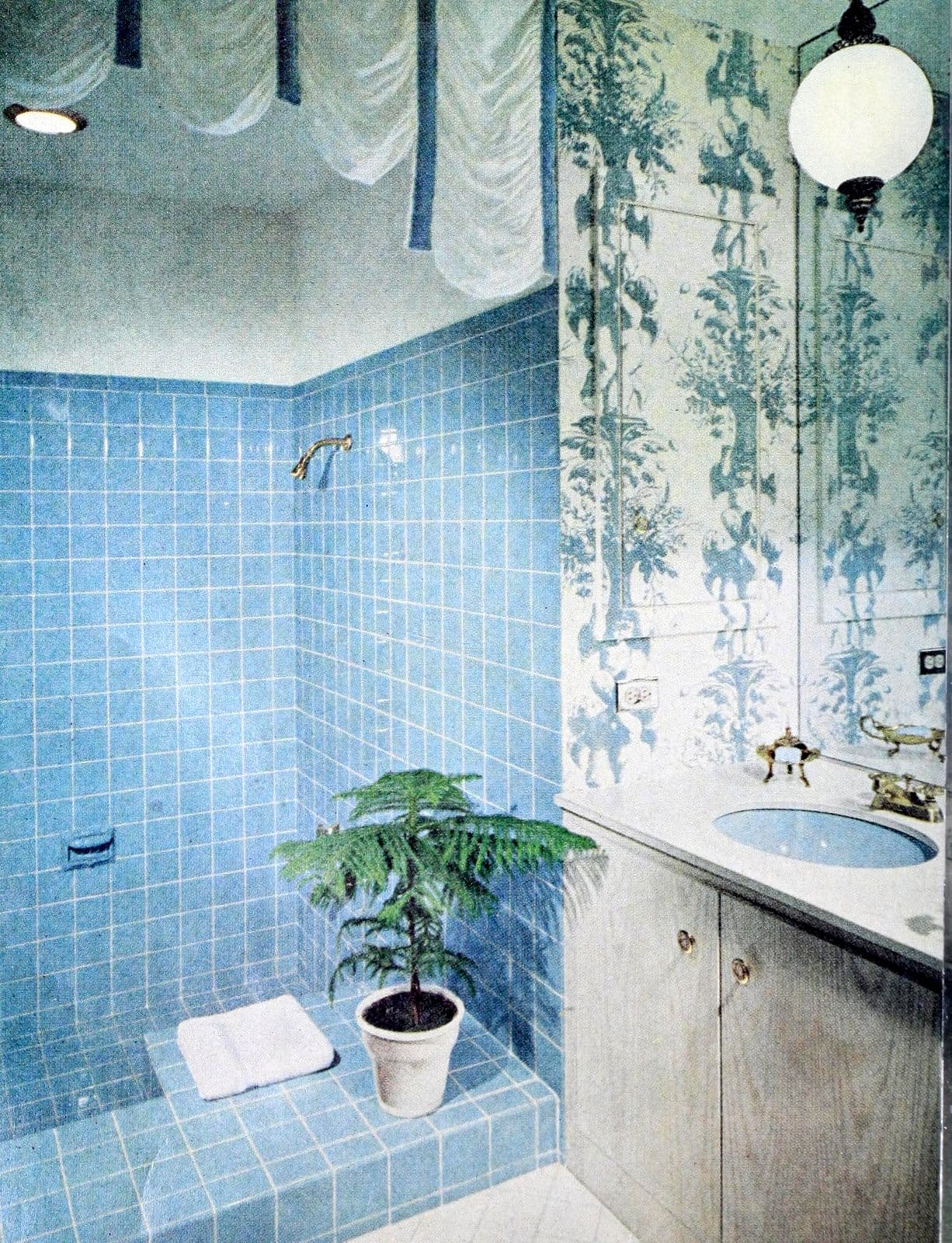Vintage sixties blue square tiles in bathroom shower stall