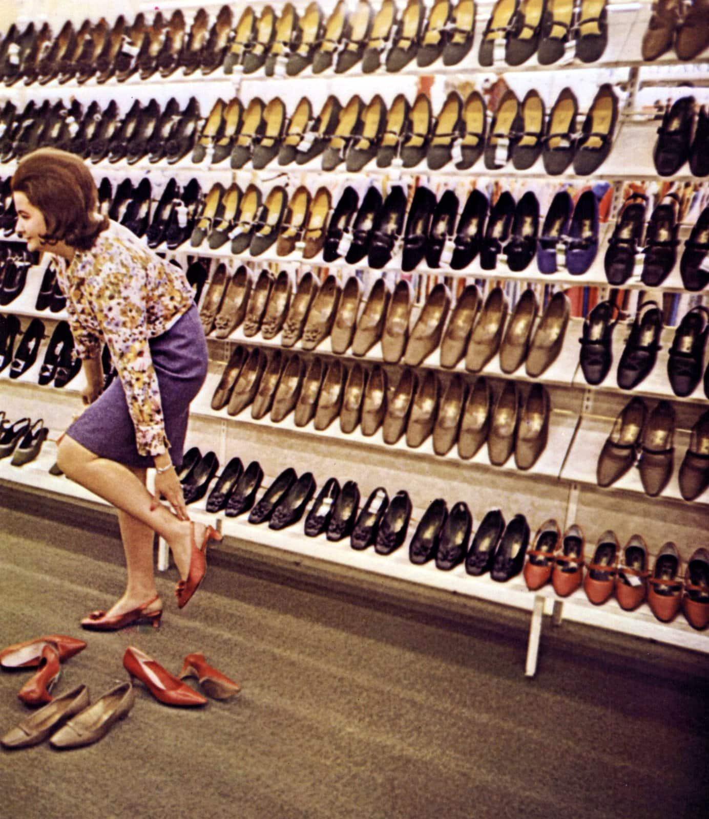 Vintage sixties self-service women's shoe store (1967)