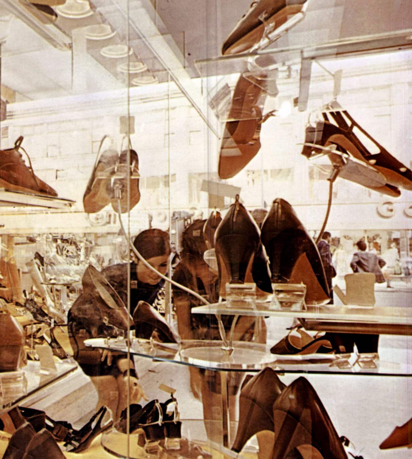 Vintage sixties women's casual shoe display (1967)