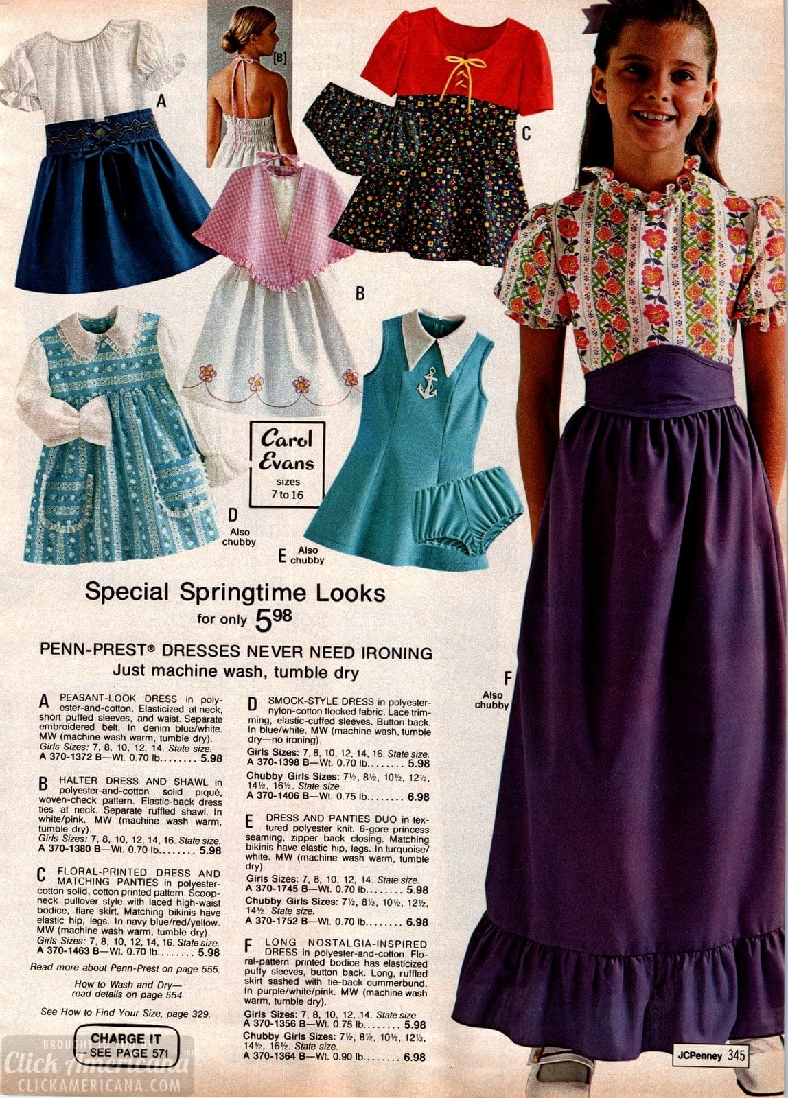 Vintage skirts and dresses for girls - peasant look and halter dress plus smock-style dresses