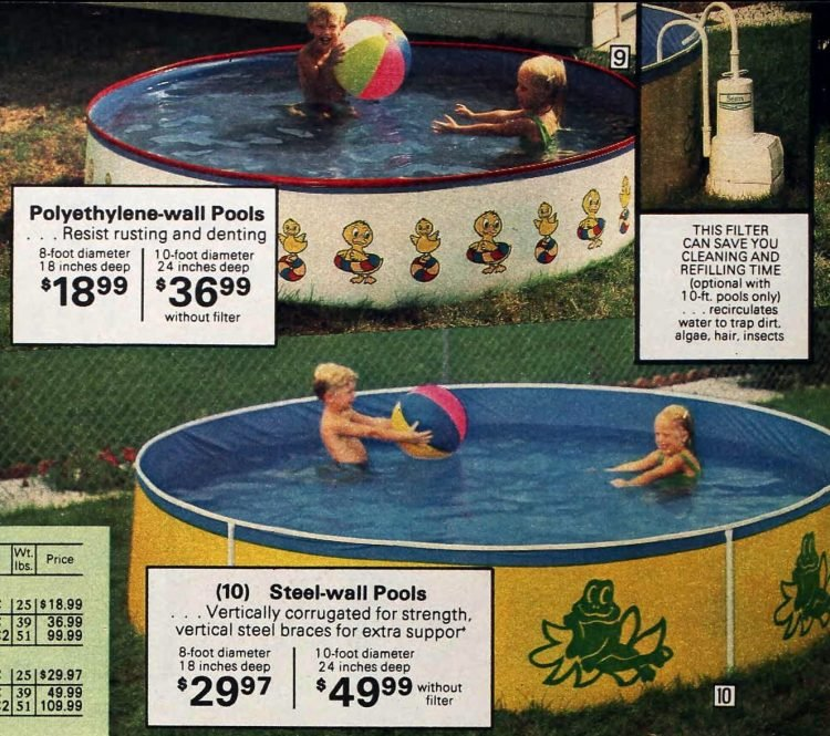 Vintage small above-ground pools from 1979