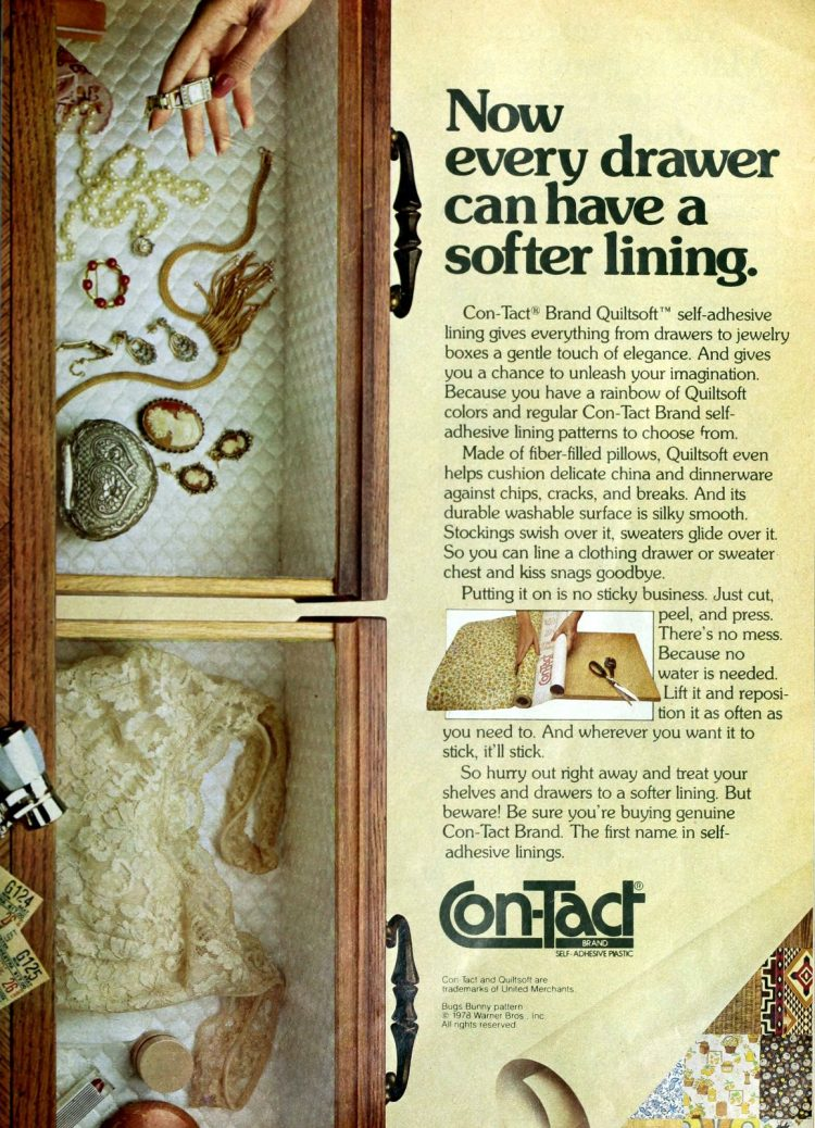 Vintage soft Con-Tact paper drawer liner - 1970s