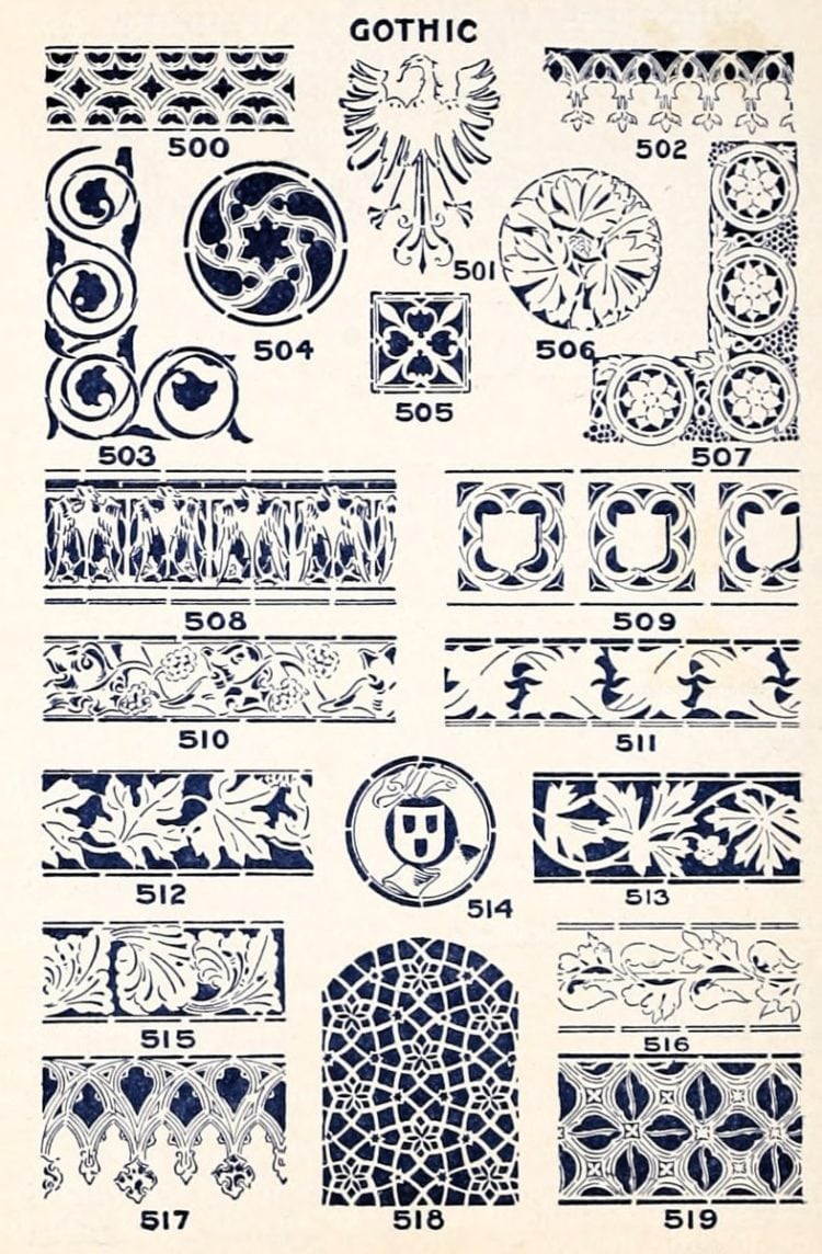 46e2631883e6d A classic collection of vintage stencil designs (1910) - Click Americana
