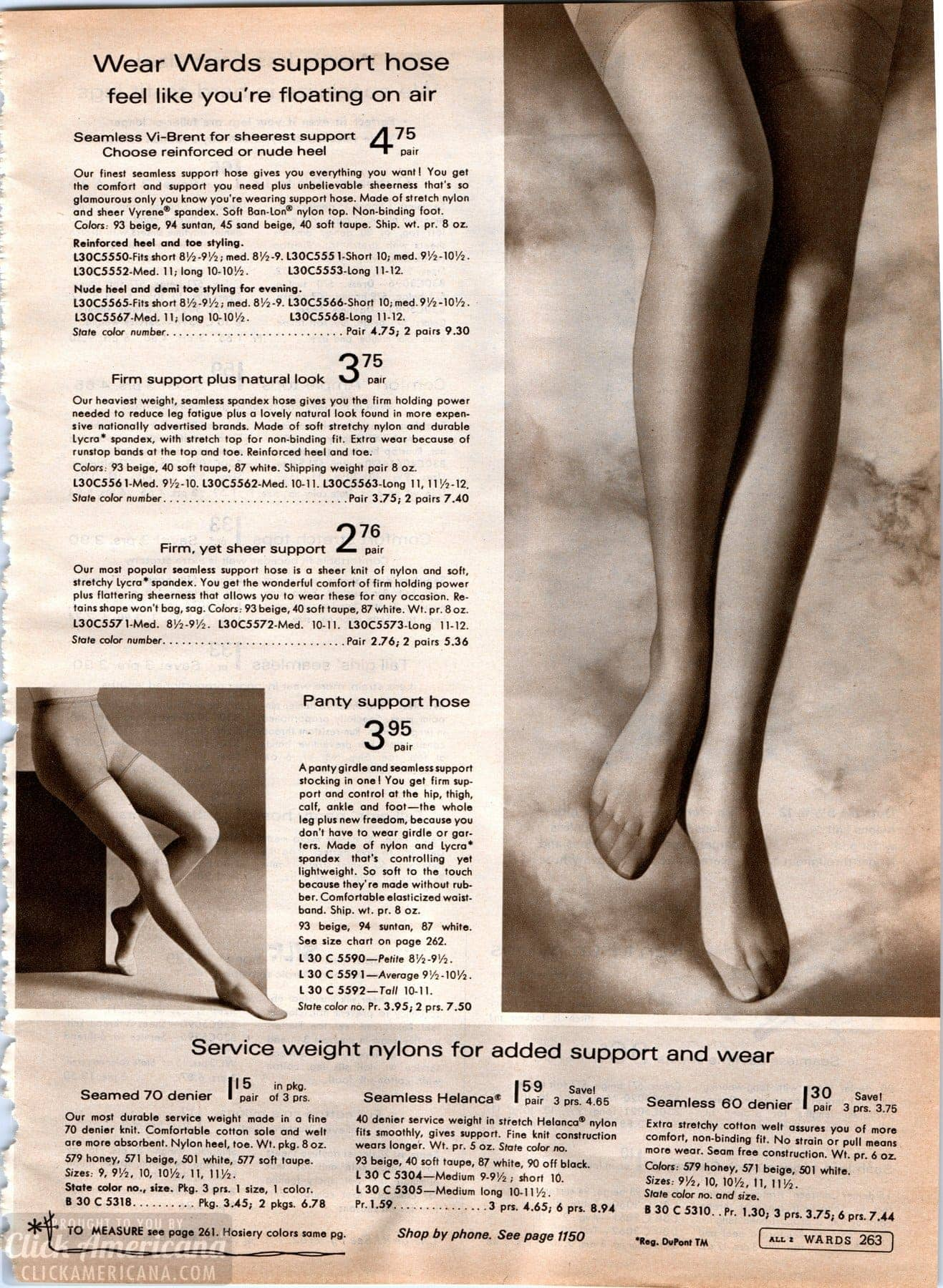 Vintage stockings - hosiery - nylons from 1968