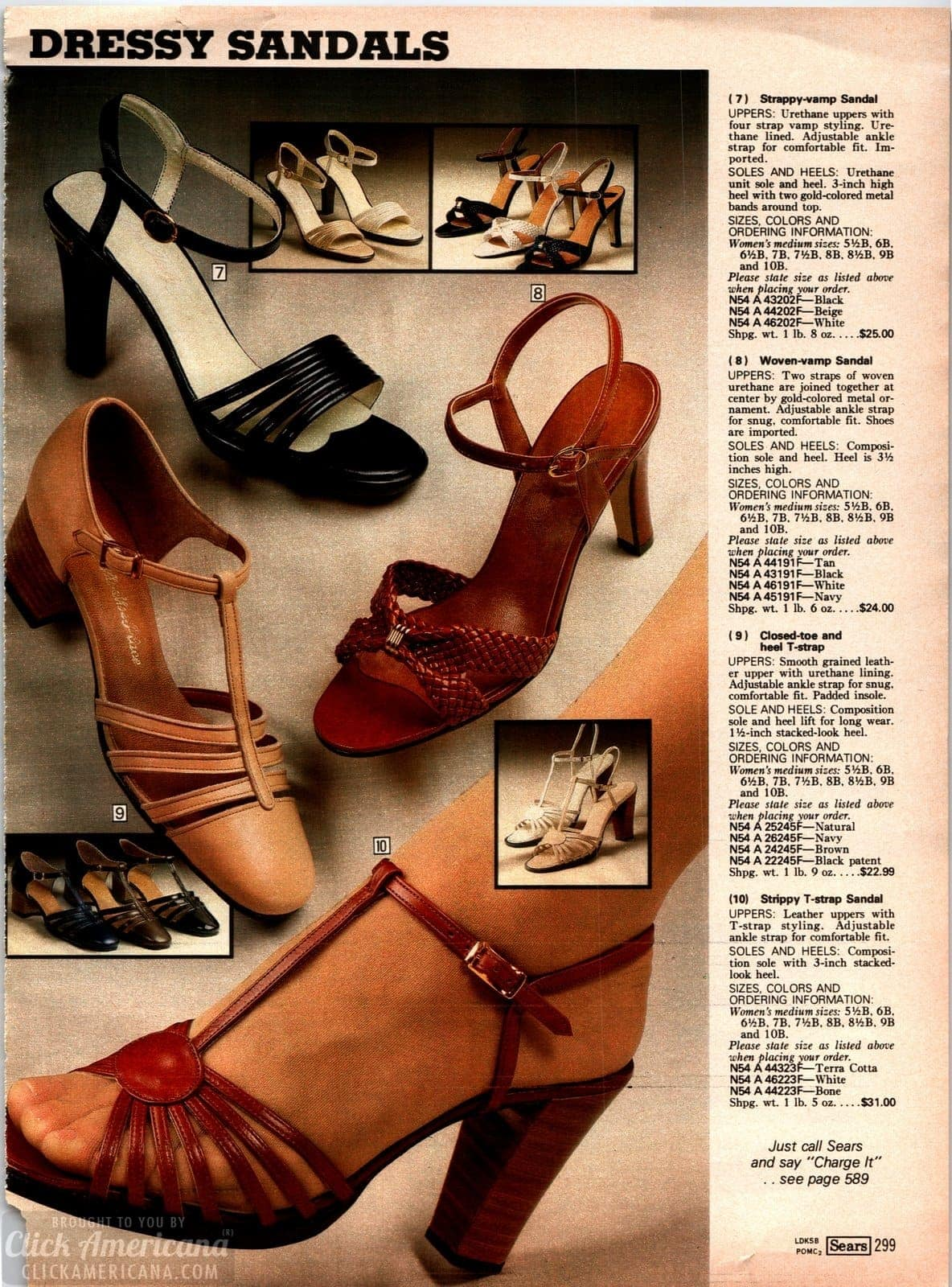 Vintage strappy heels and sandals for women from 1979