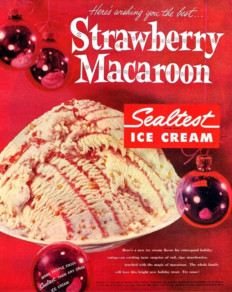 Vintage strawberry macaroon ice cream - 1957 Sealtest brand