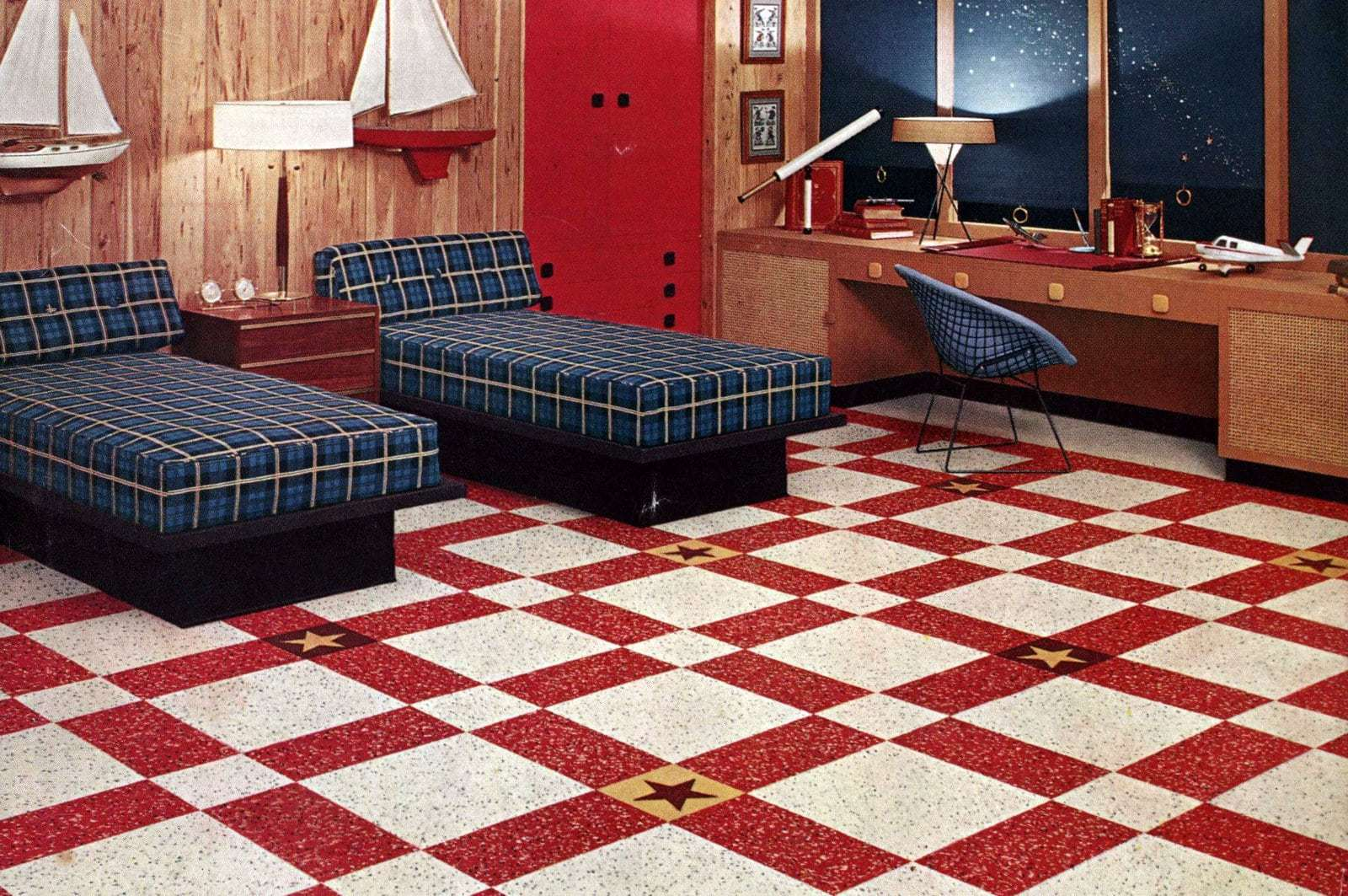 Vintage style, loud and proud! See 12 bold striped & checkerboard floors from 1950s homes