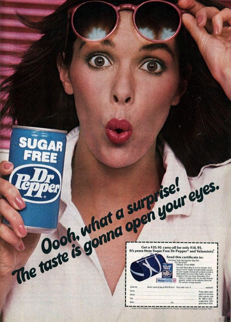 Vintage sugar-free Dr Pepper soda 1982
