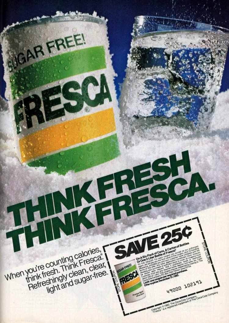 Vintage sugar free Fresca soft drink soda 1982