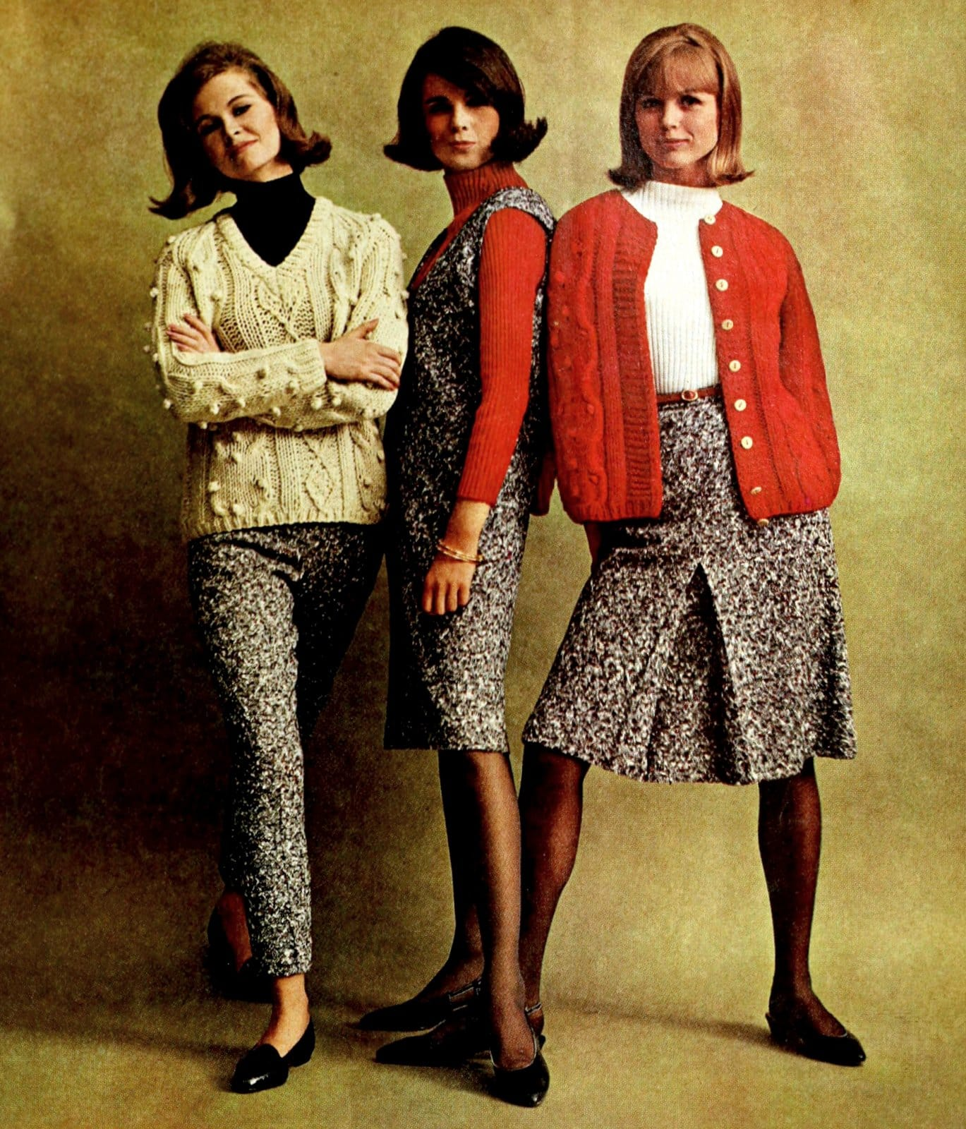 Vintage sweater styles with skirts and pants (1964)