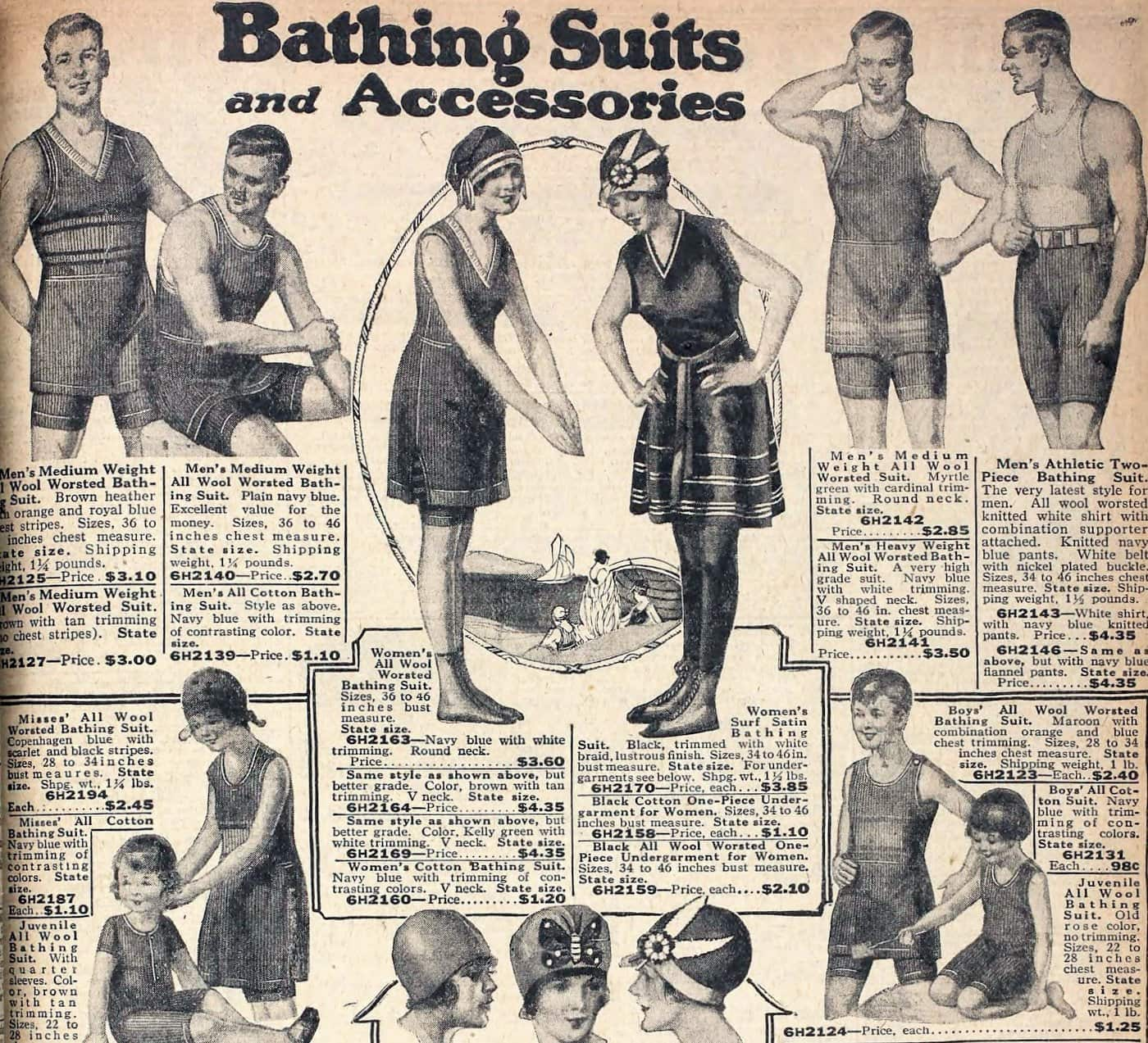 Vintage swimsuits in the Sears catalog (1922)
